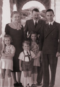 Hitler with Joseph and Magda Goebbels and their first three children Hildegard, Helmut and Helga