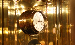 The classically-designed clock in Roderich Fick's brass elevator