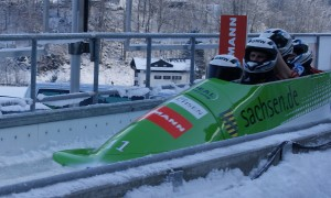 Bobsleigh at Königssee in winter